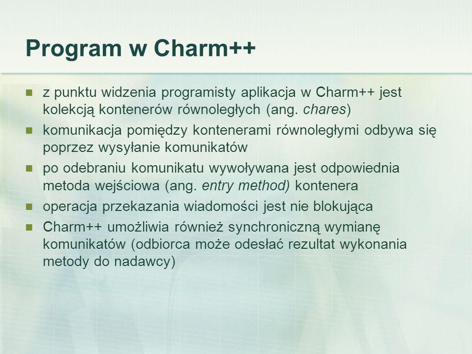Program w Charm++ z punktu widzenia programisty aplikacja w Charm++ jest kolekcją kontenerów równoległych (ang.