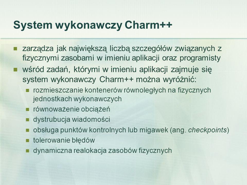 System wykonawczy Charm++ zarządza jak największą liczbą szczegółów związanych z fizycznymi zasobami w imieniu aplikacji oraz programisty wśród zadań, którymi w imieniu aplikacji zajmuje się system wykonawczy Charm++ można wyróżnić: rozmieszczanie kontenerów równoległych na fizycznych jednostkach wykonawczych równoważenie obciążeń dystrubucja wiadomości obsługa punktów kontrolnych lub migawek (ang.
