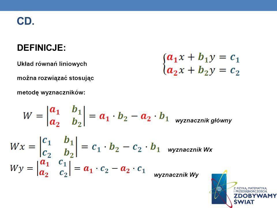 CD. DEFINICJE: Układ równań liniowych można rozwiązać stosując metodę wyznaczników: wyznacznik główny wyznacznik Wx wyznacznik Wy