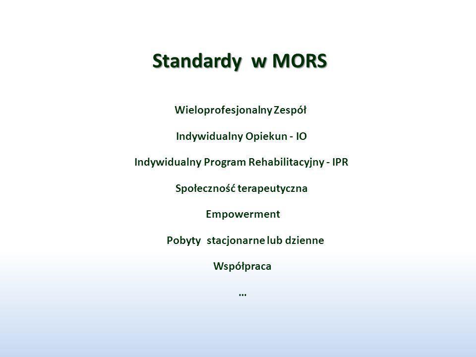 Standardy w MORS Indywidualny Opiekun - IO Indywidualny Program Rehabilitacyjny - IPR Wieloprofesjonalny Zespół Społeczność terapeutyczna Empowerment