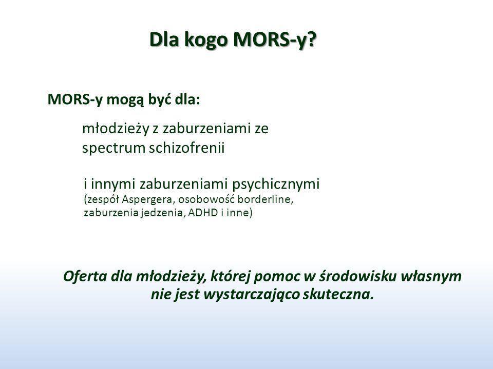 Dla kogo MORS-y? MORS-y mogą być dla: młodzieży z zaburzeniami ze spectrum schizofrenii i innymi zaburzeniami psychicznymi (zespół Aspergera, osobowoś