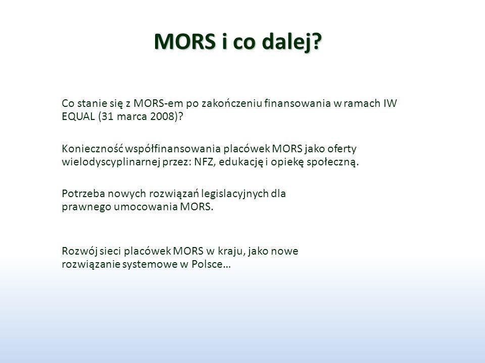 MORS i co dalej? Co stanie się z MORS-em po zakończeniu finansowania w ramach IW EQUAL (31 marca 2008)? Konieczność współfinansowania placówek MORS ja