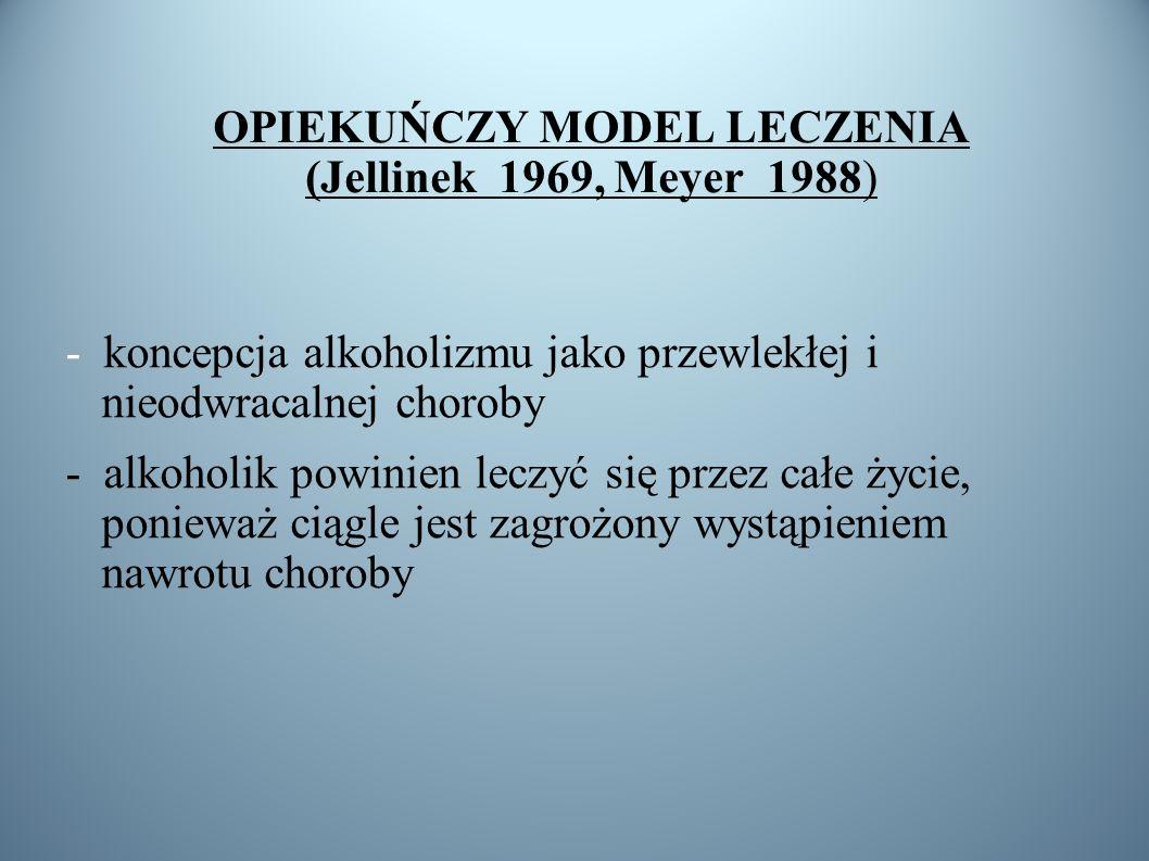 OPIEKUŃCZY MODEL LECZENIA (Jellinek 1969, Meyer 1988) - koncepcja alkoholizmu jako przewlekłej i nieodwracalnej choroby - alkoholik powinien leczyć si