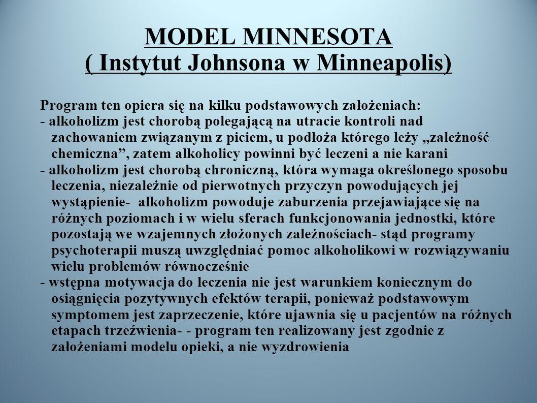 MODEL MINNESOTA ( Instytut Johnsona w Minneapolis) Program ten opiera się na kilku podstawowych założeniach: - alkoholizm jest chorobą polegającą na u