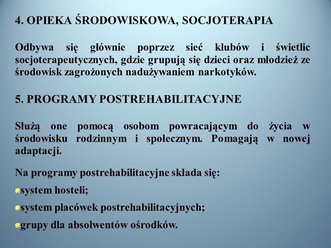 4. OPIEKA ŚRODOWISKOWA, SOCJOTERAPIA Odbywa się głównie poprzez sieć klubów i świetlic socjoterapeutycznych, gdzie grupują się dzieci oraz młodzież ze