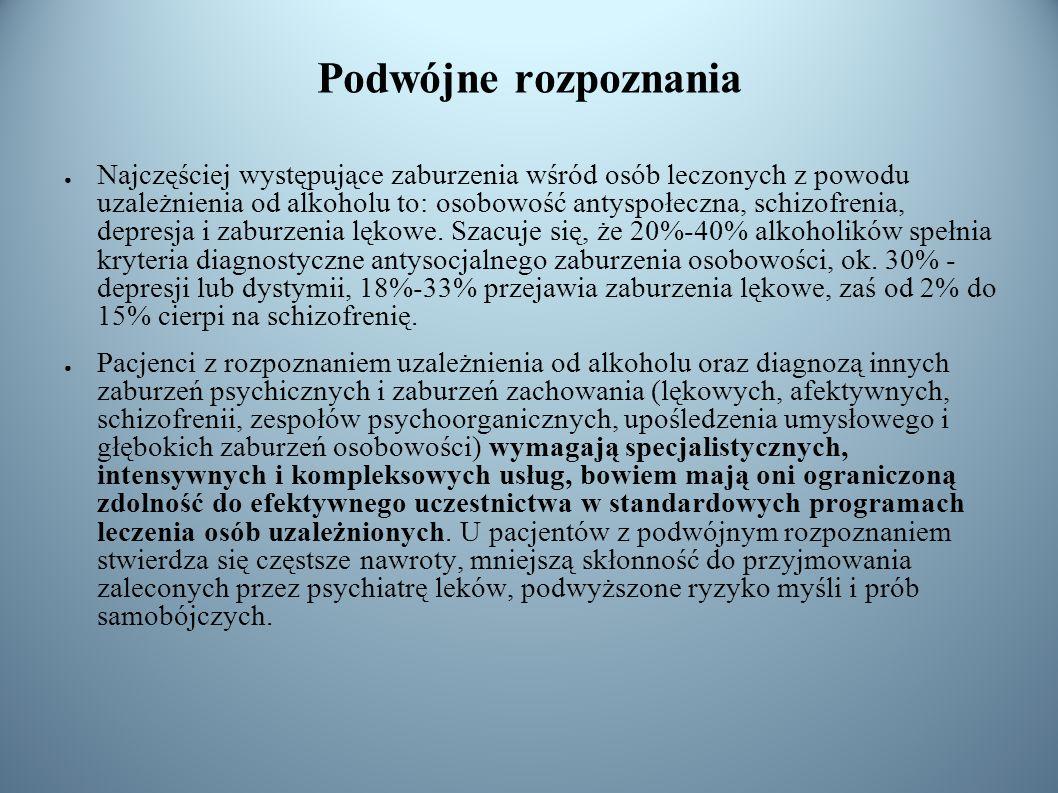 Podwójne rozpoznania Najczęściej występujące zaburzenia wśród osób leczonych z powodu uzależnienia od alkoholu to: osobowość antyspołeczna, schizofren