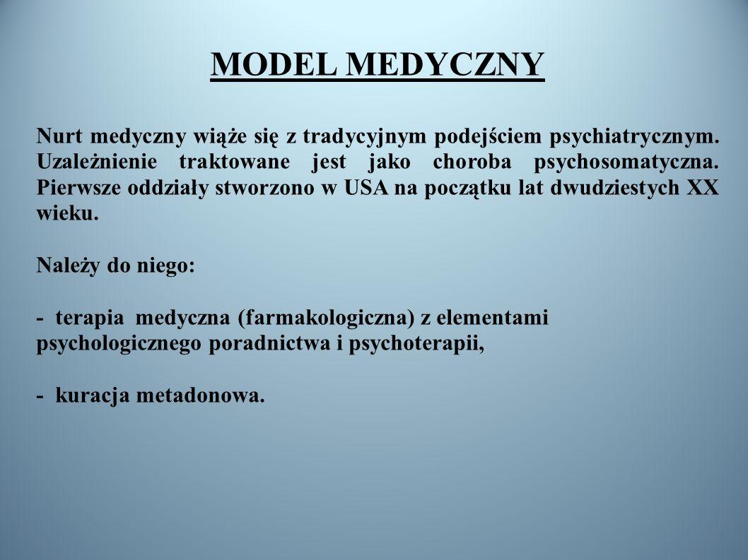 MODEL MEDYCZNY Nurt medyczny wiąże się z tradycyjnym podejściem psychiatrycznym. Uzależnienie traktowane jest jako choroba psychosomatyczna. Pierwsze