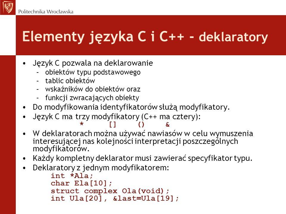 Elementy języka C i C++ - deklaratory Język C pozwala na deklarowanie –obiektów typu podstawowego –tablic obiektów –wskaźników do obiektów oraz –funkc
