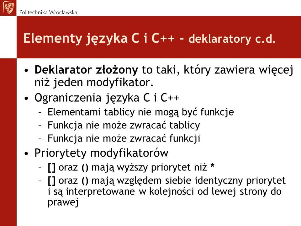 Elementy języka C i C++ - deklaratory c.d. Deklarator złożony to taki, który zawiera więcej niż jeden modyfikator. Ograniczenia języka C i C++ –Elemen