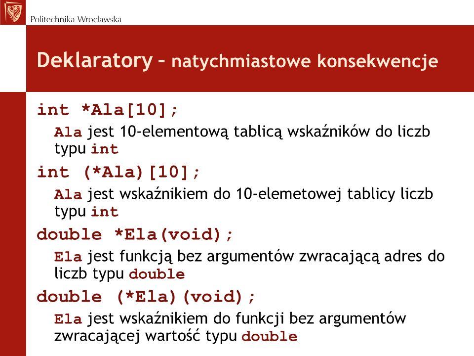 Deklaratory – natychmiastowe konsekwencje int *Ala[10]; Ala jest 10-elementową tablicą wskaźników do liczb typu int int (*Ala)[10]; Ala jest wskaźniki
