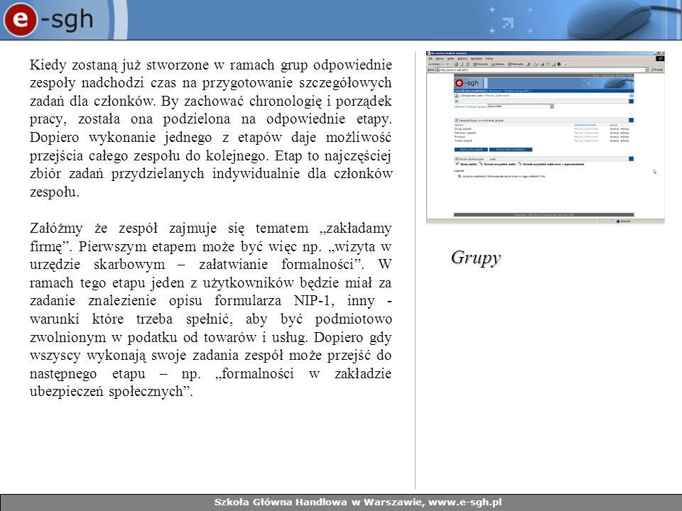 Szkoła Główna Handlowa w Warszawie, www.e-sgh.pl Kiedy zostaną już stworzone w ramach grup odpowiednie zespoły nadchodzi czas na przygotowanie szczegółowych zadań dla członków.