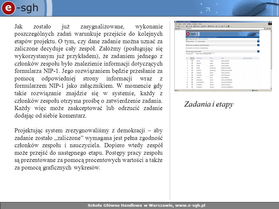 Szkoła Główna Handlowa w Warszawie, www.e-sgh.pl Jak zostało już zasygnalizowane, wykonanie poszczególnych zadań warunkuje przejście do kolejnych etapów projektu.