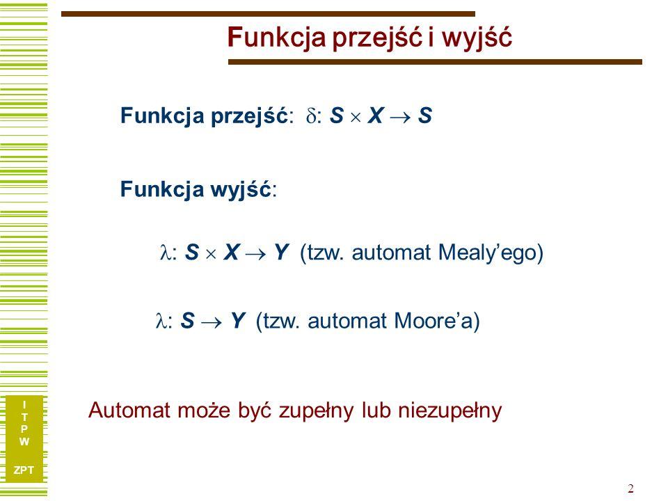 I T P W ZPT 1 Układy sekwencyjne - pojęcie automatu Automat a) zbioru liter wejściowych V (X) b) zbioru stanów wewnętrznych S, c) funkcji przejść (ozn