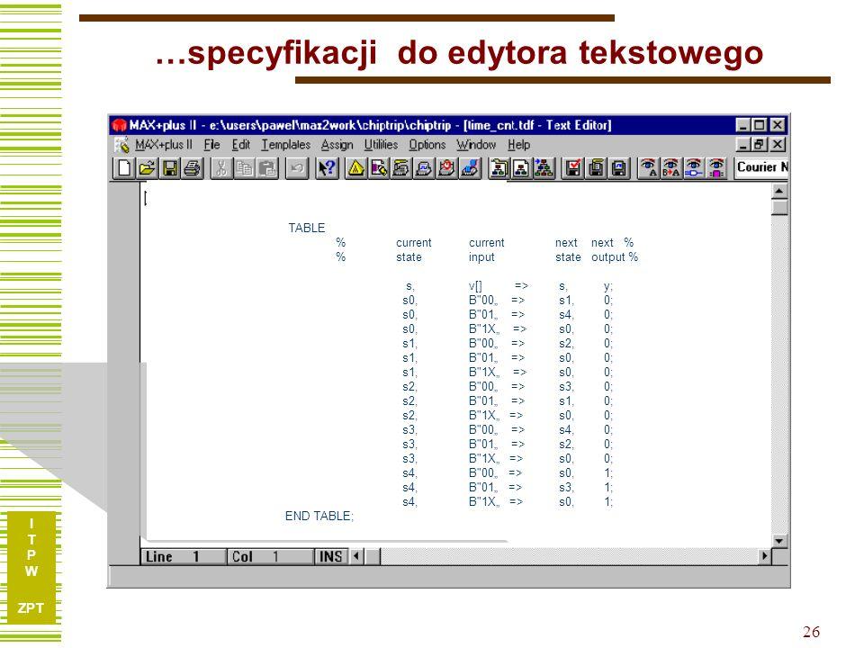 I T P W ZPT 26 …specyfikacji do edytora tekstowego TABLE % current currentnext next % % stateinputstate output % s, v[] => s, y; s0,B 00 => s1, 0; s0,B 01 => s4, 0; s0,B 1X => s0, 0; s1,B 00 => s2, 0; s1,B 01 => s0, 0; s1,B 1X => s0, 0; s2,B 00 => s3, 0; s2,B 01 => s1, 0; s2,B 1X => s0, 0; s3,B 00 => s4, 0; s3,B 01 => s2, 0; s3,B 1X => s0, 0; s4,B 00 => s0, 1; s4,B 01 => s3, 1; s4,B 1X => s0, 1; END TABLE;