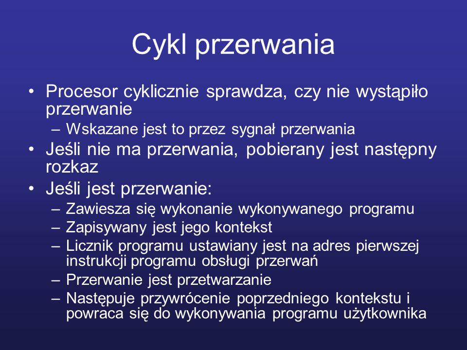 Cykl przerwania Procesor cyklicznie sprawdza, czy nie wystąpiło przerwanie –Wskazane jest to przez sygnał przerwania Jeśli nie ma przerwania, pobieran