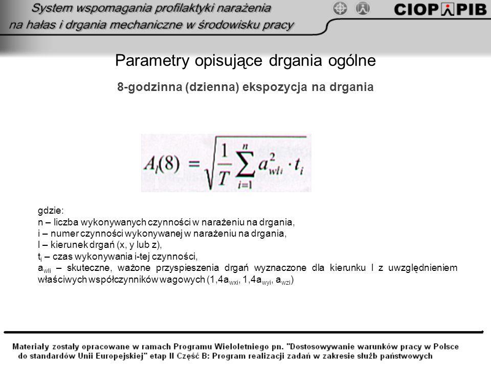 Parametry opisujące drgania ogólne 8-godzinna (dzienna) ekspozycja na drgania gdzie: n – liczba wykonywanych czynności w narażeniu na drgania, i – num