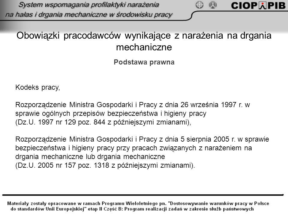Obowiązki pracodawców wynikające z narażenia na drgania mechaniczne Kodeks pracy, Rozporządzenie Ministra Gospodarki i Pracy z dnia 26 września 1997 r