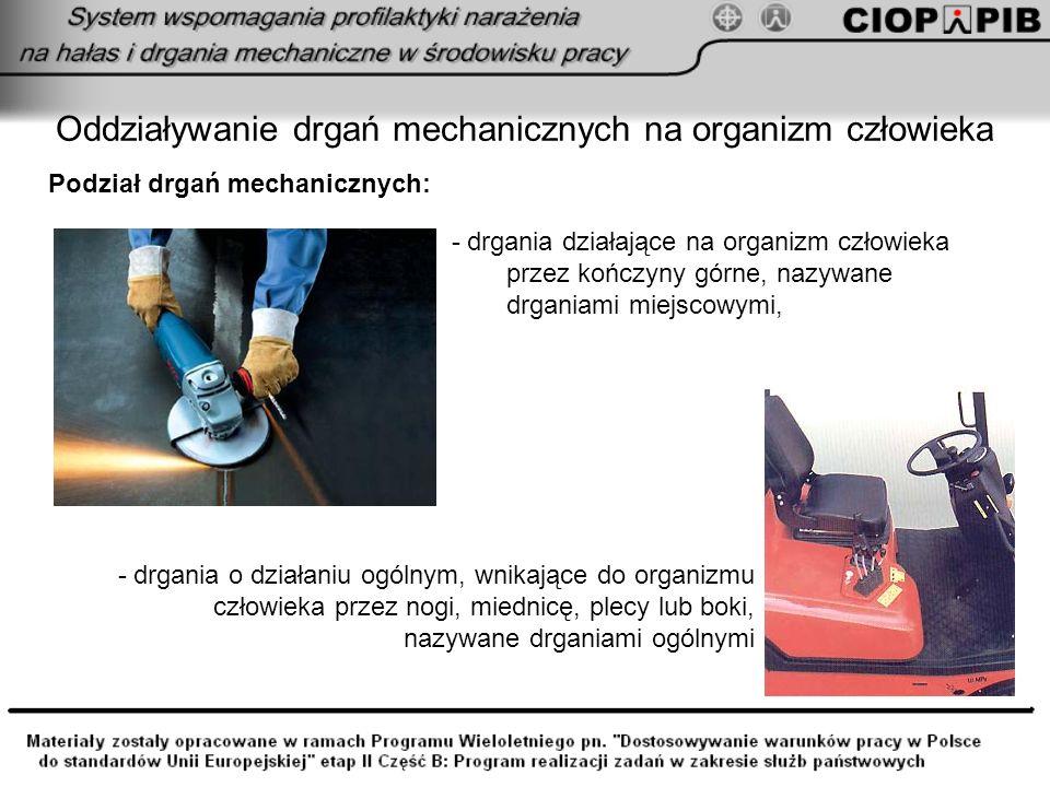 Oddziaływanie drgań mechanicznych na organizm człowieka Podział drgań mechanicznych: - drgania działające na organizm człowieka przez kończyny górne,