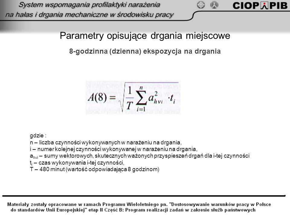 Parametry opisujące drgania ogólne wartość dominująca skutecznych ważonych przyspieszeń drgań a w,30min,max = max{a wli } = max{a wl1, a wl2,...