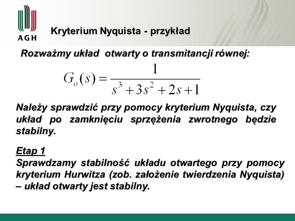 Kryterium Nyquista - przykład Rozważmy układ otwarty o transmitancji równej: Należy sprawdzić przy pomocy kryterium Nyquista, czy układ po zamknięciu