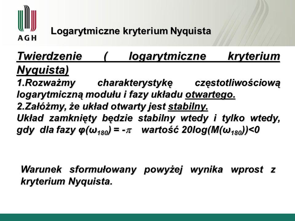 Logarytmiczne kryterium Nyquista Twierdzenie ( logarytmiczne kryterium Nyquista) 1.Rozważmy charakterystykę częstotliwościową logarytmiczną modułu i f