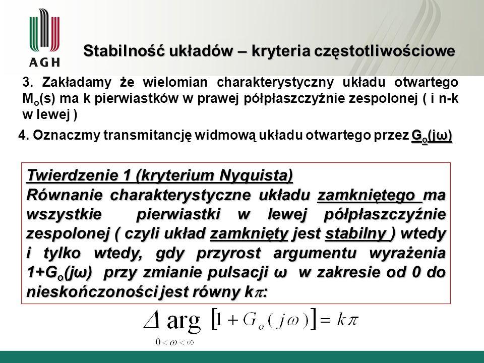 Stabilność układów – kryteria częstotliwościowe G o (jω) 4. Oznaczmy transmitancję widmową układu otwartego przez G o (jω) Twierdzenie 1 (kryterium Ny