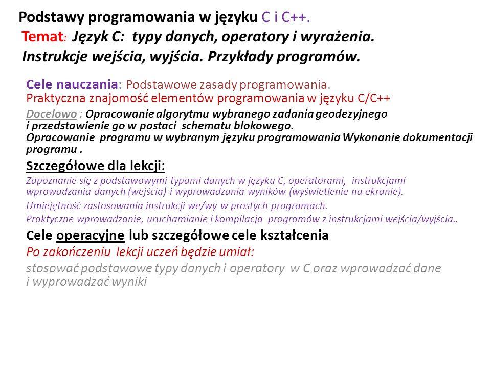 /* Program p35.c ( operator konwersji )*/ #include int main() { char c = k ; int i = 70; float f = 345.6789; printf( \n Wartosci poczatkowe: ); printf( \n c = \ %c\ ; i = %i; f = %8.4f; , c,i, f); printf( \n------------------------------------- ); printf( \n Konwersja Wynik ); printf( \n------------------------------------- ); printf( \n (int) c %i , (int) c ); printf( \n (float) c %f , (float) c ); printf( \n (double) i %f , (double) i ); printf( \n (char) i %c , (char) i ); printf( \n (double) i+2000 %f , (double) i+2000 ); printf( \n (int) f %i , (int) f ); printf( \n sqrt((double) c) %f , sqrt((double) c)); printf( \n------------------------------------- ); getch(); return 1; } Wyniki Wartosci poczatkowe: c = k ; i = 70; f = 345.6789; ------------------------------------- Konwersja Wynik ------------------------------------- (int) c 107 (float) c 107.000000 (double) i 70.000000 (char) i F (double) i+2000 2070.000000 (int) f 345 sqrt((double) c) 10.344080 -------------------------------------