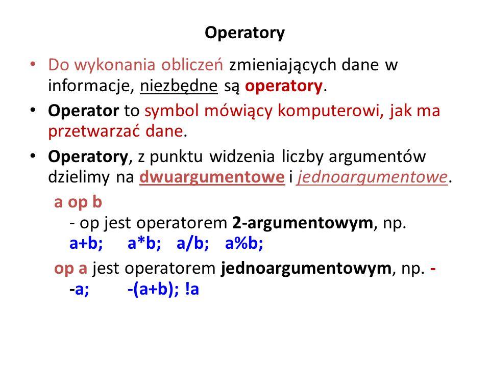 Operatory Do wykonania obliczeń zmieniających dane w informacje, niezbędne są operatory. Operator to symbol mówiący komputerowi, jak ma przetwarzać da