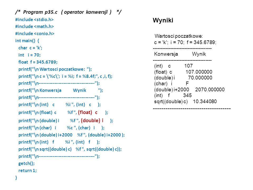 /* Program p35.c ( operator konwersji )*/ #include int main() { char c = 'k'; int i = 70; float f = 345.6789; printf(