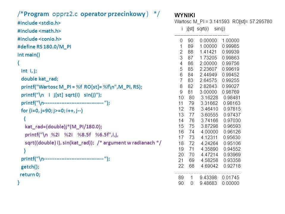 /*Program opprz2.c operator przecinkowy ) */ #include #define RS 180.0/M_PI int main() { int i, j; double kat_rad; printf( Wartosc M_PI = %f RO[st]= %f\n ,M_PI, RS); printf( \n i j[st] sqrt(i) sin(j) ); printf( \n----------------------------------- ); for (i=0, j=90; j>=0; i++, j--) { kat_rad=(double)j*(M_PI/180.0); printf( \n %2i %2i %8.5f %6.5f ,i,j, sqrt((double) i), sin(kat_rad)); /* argument w radianach */ } printf( \n----------------------------------- ); getch(); return 0; } WYNIKI Wartosc M_PI = 3.141593 RO[st]= 57.295780 i j[st] sqrt(i) sin(j) ----------------------------------- 0 90 0.00000 1.00000 1 89 1.00000 0.99985 2 88 1.41421 0.99939 3 87 1.73205 0.99863 4 86 2.00000 0.99756 5 85 2.23607 0.99619 6 84 2.44949 0.99452 7 83 2.64575 0.99255 8 82 2.82843 0.99027 9 81 3.00000 0.98769 10 80 3.16228 0.98481 11 79 3.31662 0.98163 12 78 3.46410 0.97815 13 77 3.60555 0.97437 14 76 3.74166 0.97030 15 75 3.87298 0.96593 16 74 4.00000 0.96126 17 73 4.12311 0.95630 18 72 4.24264 0.95106 19 71 4.35890 0.94552 20 70 4.47214 0.93969 21 69 4.58258 0.93358 22 68 4.69042 0.92718 …………………………………… 89 1 9.43398 0.01745 90 0 9.48683 0.00000