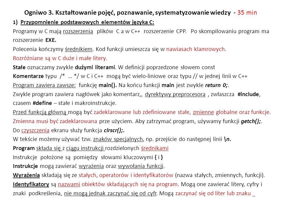 Prosty kalkulator – liczby rzeczywiste /* Program kalk2.c */ #include int main() /* funkcja glowna */ { float a,b; /* deklaracja zmiennych rzeczywistych a i b */ float suma,roznica,iloczyn; float iloraz; /* deklaracja zmiennej rzeczywistej */ clrscr(); /* kasowanie ekranu */ printf( Prosty kalkulator\n ); printf( \nPodaj liczbe a: ); scanf( %f ,&a); /* wczytanie liczby a */ printf( Podaj liczbe b: ); scanf( %f ,&b); /* wczytanie liczby b */ printf( \nLiczba wprowadzona a = %f ,a); printf( \nLiczba wprowadzona b = %f ,b); /* c.d - obliczenia */ suma=a+b; roznica=a-b; iloczyn=a*b; iloraz=a/b; /* Wydruk wynikow */ printf( \nWyniki dzialan:\n ); printf( \nSuma: %f ,suma); printf( \nRoznica: %f ,roznica); printf( \nIloczyn: %f ,iloczyn); printf( \nIloraz: %f ,iloraz); getch(); /* czeka na naciśniecie klawisza */ return 0 ; }