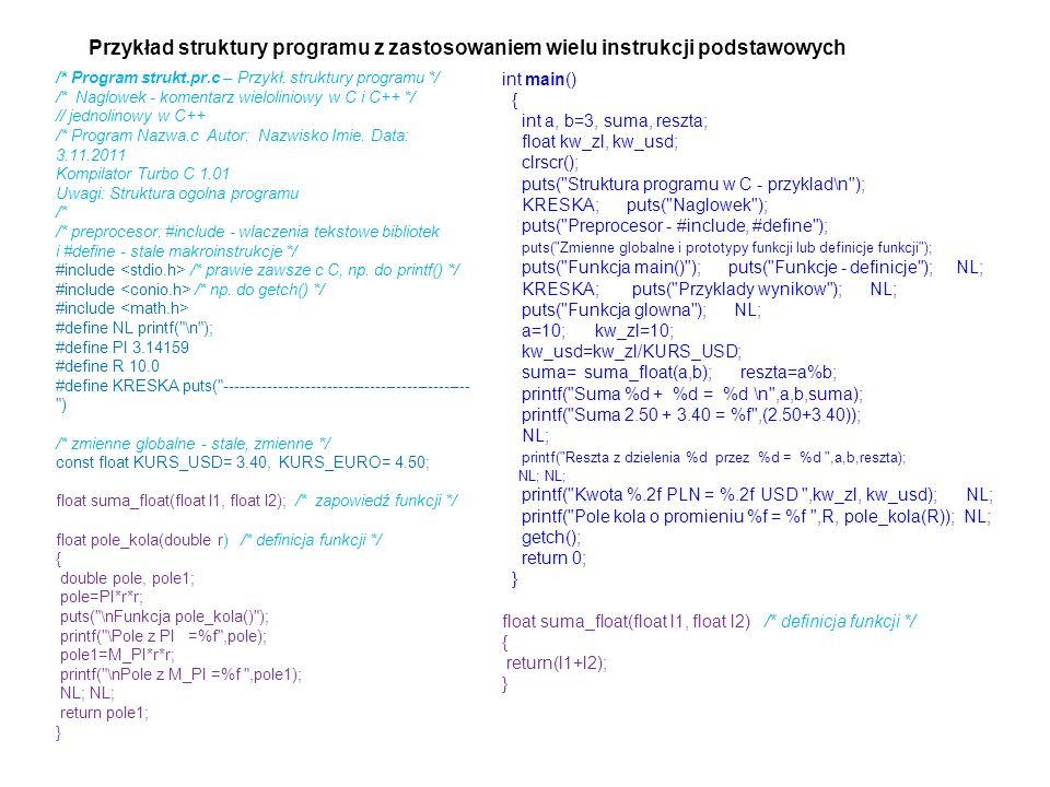 /* Program strukt.pr.c – Przykł. struktury programu */ /* Naglowek - komentarz wieloliniowy w C i C++ */ // jednolinowy w C++ /* Program Nazwa.c Autor