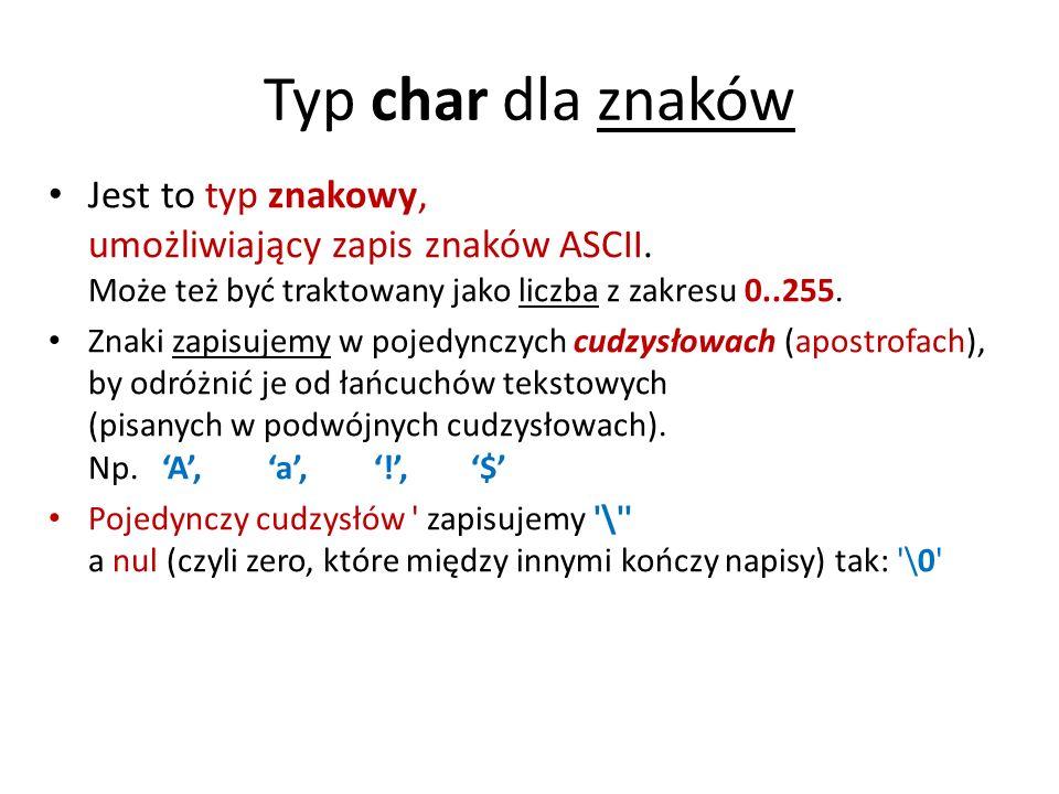 /* Program znaki1.c */ #include main (void) { char znak1,znak2,znak3; //deklaracja znaków char slowo1[10], slowo2[15]; char slowo3[]= Adam ; // definicja clrscr(); // czyszczenie ekranu znak1= a ; // inicjalizacja zmiennej znak1 znak2=102; // znak w postaci kodu dziesiętnego ASCII - litera f printf( Podaj znak3: ); scanf( %c ,&znak3); // podajemy jakiś znak printf( \nPodaj slowo1: ); scanf( %s ,slowo1); // wpisujemy słowo 1 printf( \nPodaj slowo2: ); scanf( %s ,slowo2); // wpisujemy słowo 2 printf( \nZmienne zawieraja znaki: ); printf( znak1 (a), znak2 (102), znak3 (wprowadzony): %c %c %c ,znak1,znak2,znak3); printf( \noraz slowa: ); printf( slowo1, slowo2, slowo3: %s %s %s ,slowo1, slowo2, slowo3); getch(); return 0 ; }