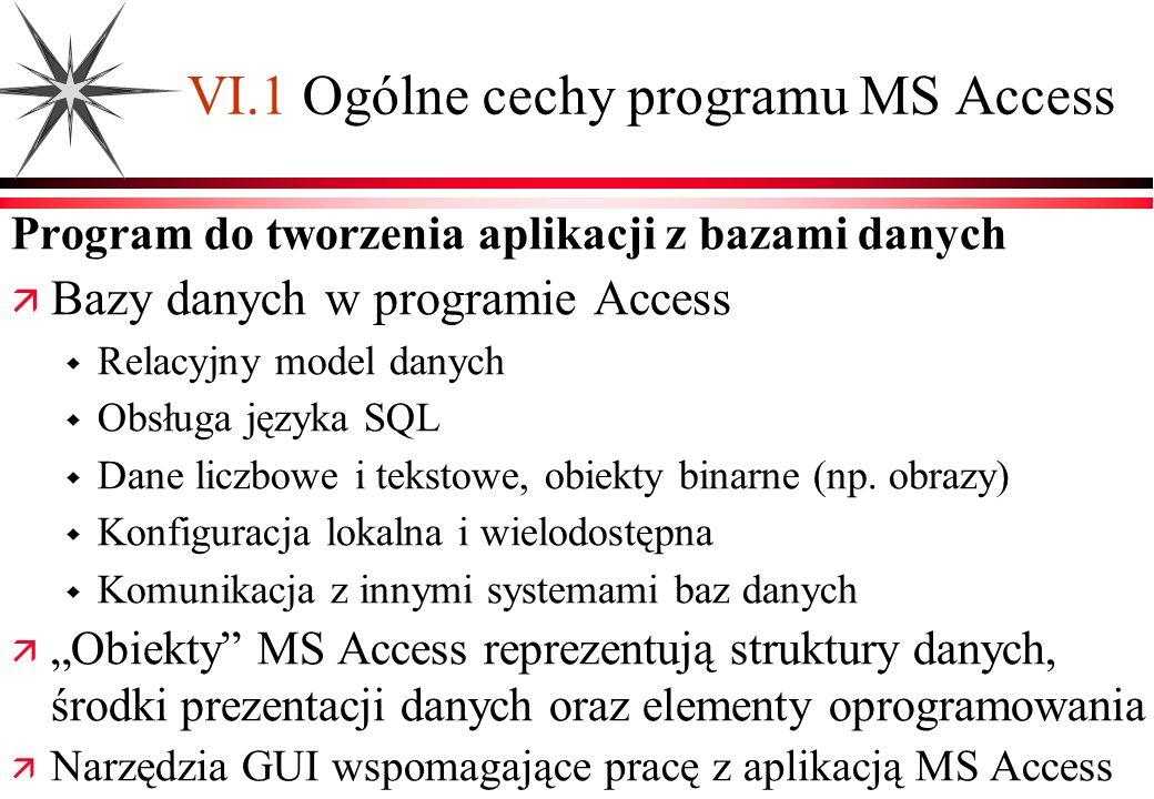 VI.1 Ogólne cechy programu MS Access Program do tworzenia aplikacji z bazami danych Bazy danych w programie Access Relacyjny model danych Obsługa języ
