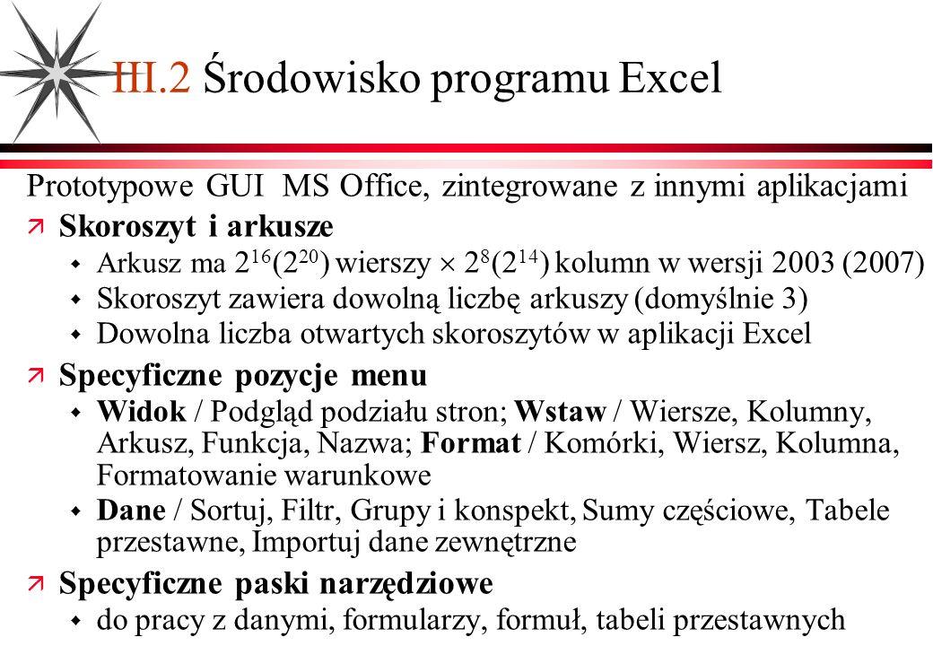 III.2 Środowisko programu Excel Prototypowe GUI MS Office, zintegrowane z innymi aplikacjami Skoroszyt i arkusze Arkusz ma 2 16 (2 20 ) wierszy 2 8 (2