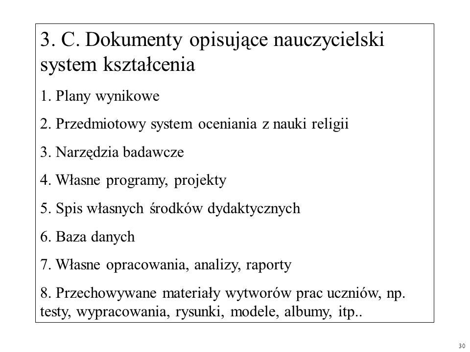 3. C. Dokumenty opisujące nauczycielski system kształcenia 1. Plany wynikowe 2. Przedmiotowy system oceniania z nauki religii 3. Narzędzia badawcze 4.
