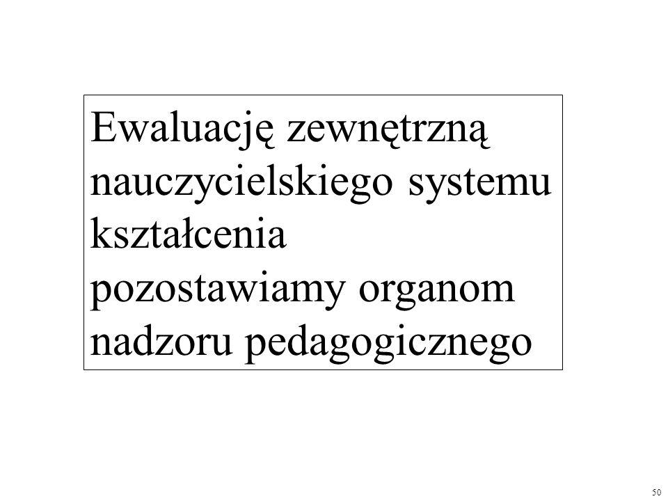 Ewaluację zewnętrzną nauczycielskiego systemu kształcenia pozostawiamy organom nadzoru pedagogicznego 50