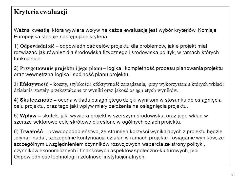 Kryteria ewaluacji Ważną kwestią, która wywiera wpływ na każdą ewaluację jest wybór kryteriów. Komisja Europejska stosuje następujące kryteria: 1) Odp