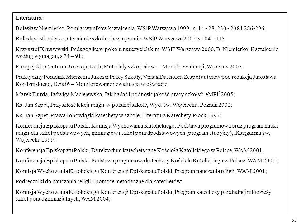 Literatura: Bolesław Niemierko, Pomiar wyników kształcenia, WSiP Warszawa 1999, s. 14 - 28, 230 - 238 i 286-296; Bolesław Niemierko, Ocenianie szkolne