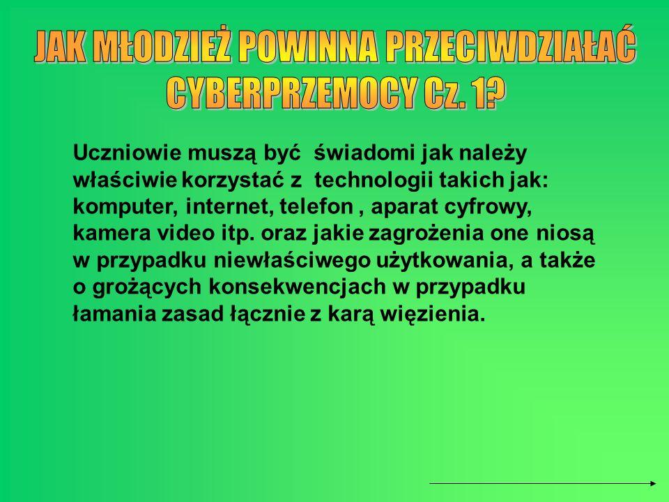 Uczniowie muszą być świadomi jak należy właściwie korzystać z technologii takich jak: komputer, internet, telefon, aparat cyfrowy, kamera video itp. o