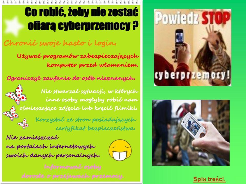 http://www.repka.pl/Psyche/Relacje/Partner/centra-tematyczne/Oblicza- przemocy/Artyku-y/Cyberprzemoc.aspx http://emilek.pl/artykuly/cyberprzemoc.pdf http://www.publikacje.edu.pl/publikacje.php?nr=6775 Zdjęcia pochodzą z ogólnodostepnych stron internetowych.