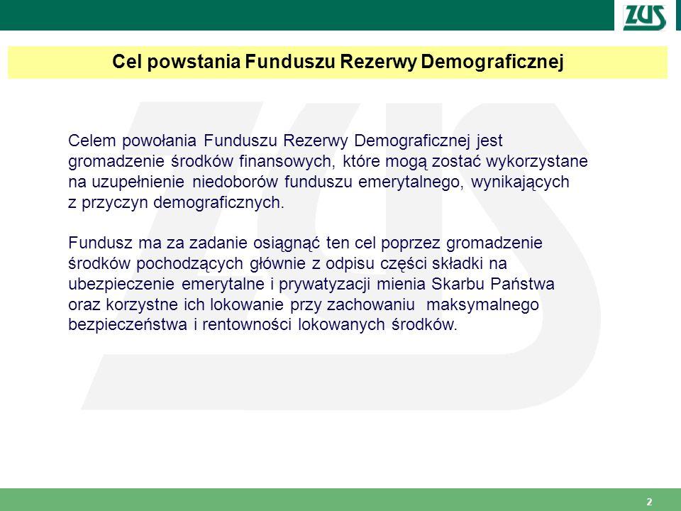2 Cel powstania Funduszu Rezerwy Demograficznej Celem powołania Funduszu Rezerwy Demograficznej jest gromadzenie środków finansowych, które mogą zosta