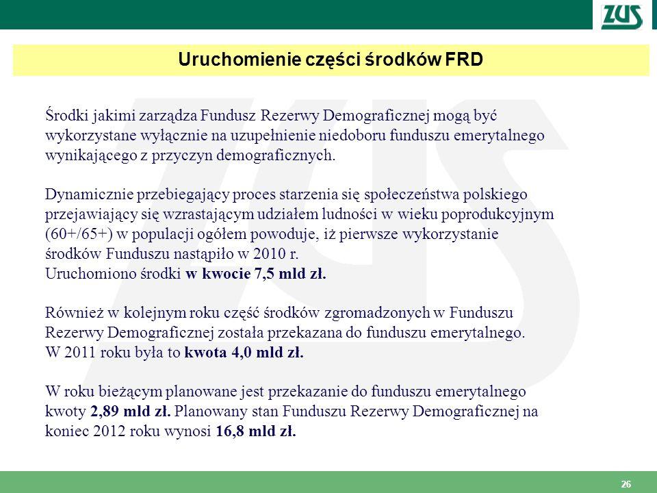 26 Uruchomienie części środków FRD Środki jakimi zarządza Fundusz Rezerwy Demograficznej mogą być wykorzystane wyłącznie na uzupełnienie niedoboru funduszu emerytalnego wynikającego z przyczyn demograficznych.