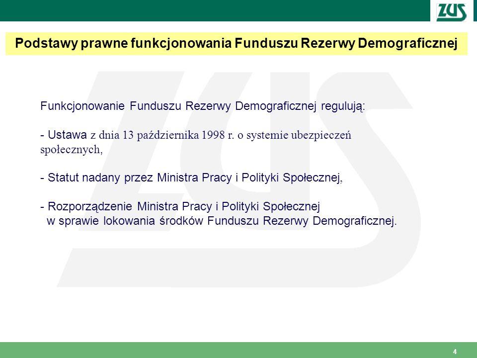 4 Podstawy prawne funkcjonowania Funduszu Rezerwy Demograficznej Funkcjonowanie Funduszu Rezerwy Demograficznej regulują: - Ustawa z dnia 13 października 1998 r.