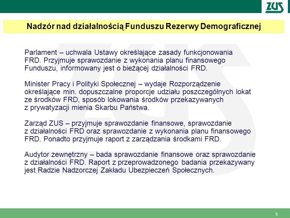 5 Parlament – uchwala Ustawy określające zasady funkcjonowania FRD. Przyjmuje sprawozdanie z wykonania planu finansowego Funduszu, informowany jest o