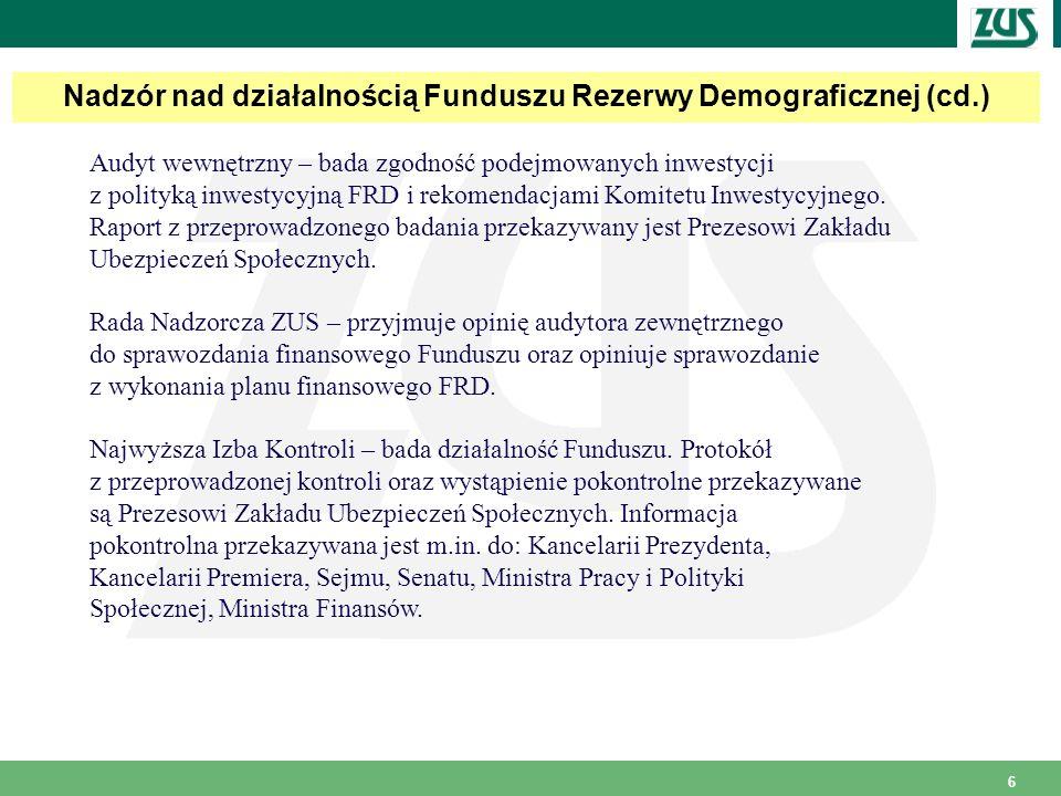 6 Nadzór nad działalnością Funduszu Rezerwy Demograficznej (cd.) Audyt wewnętrzny – bada zgodność podejmowanych inwestycji z polityką inwestycyjną FRD i rekomendacjami Komitetu Inwestycyjnego.