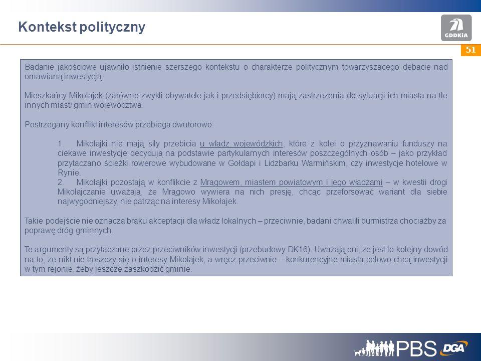 51 Kontekst polityczny Badanie jakościowe ujawniło istnienie szerszego kontekstu o charakterze politycznym towarzyszącego debacie nad omawianą inwestycją.