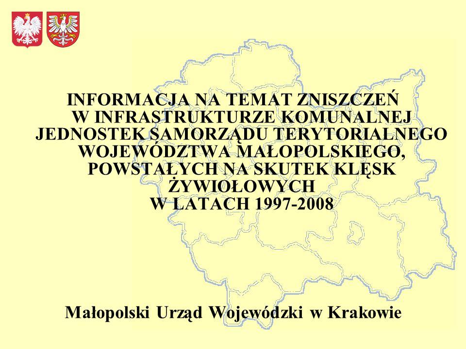 INFORMACJA NA TEMAT ZNISZCZEŃ W INFRASTRUKTURZE KOMUNALNEJ JEDNOSTEK SAMORZĄDU TERYTORIALNEGO WOJEWÓDZTWA MAŁOPOLSKIEGO, POWSTAŁYCH NA SKUTEK KLĘSK ŻYWIOŁOWYCH W LATACH 1997-2008 Małopolski Urząd Wojewódzki w Krakowie