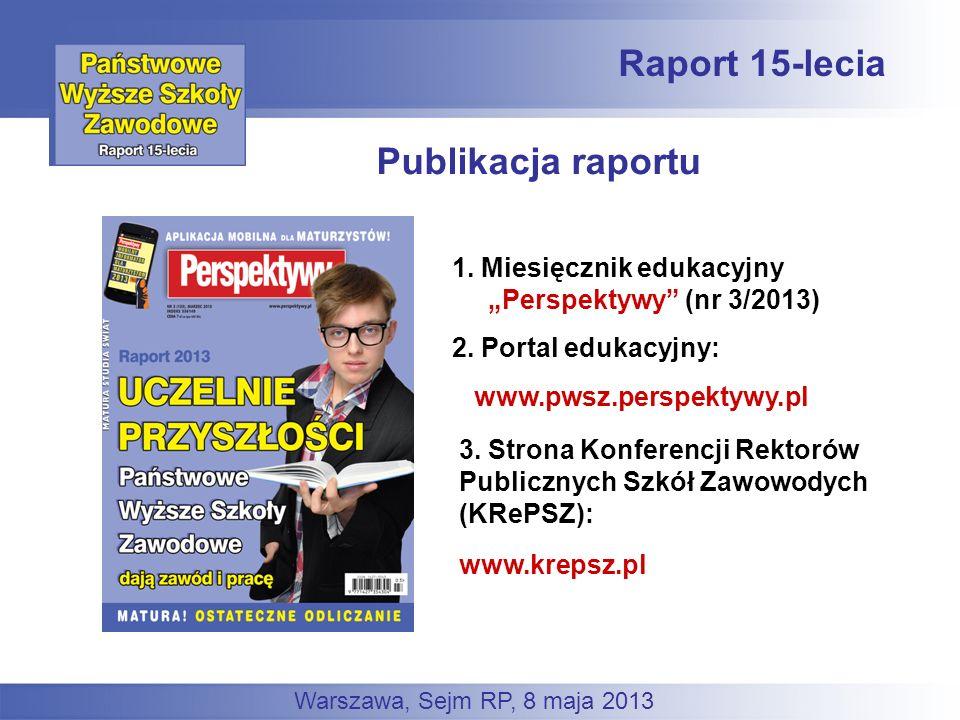 Publikacja raportu Raport 15-lecia www.pwsz.perspektywy.pl 1. Miesięcznik edukacyjny Perspektywy (nr 3/2013) 2. Portal edukacyjny: 3. Strona Konferenc