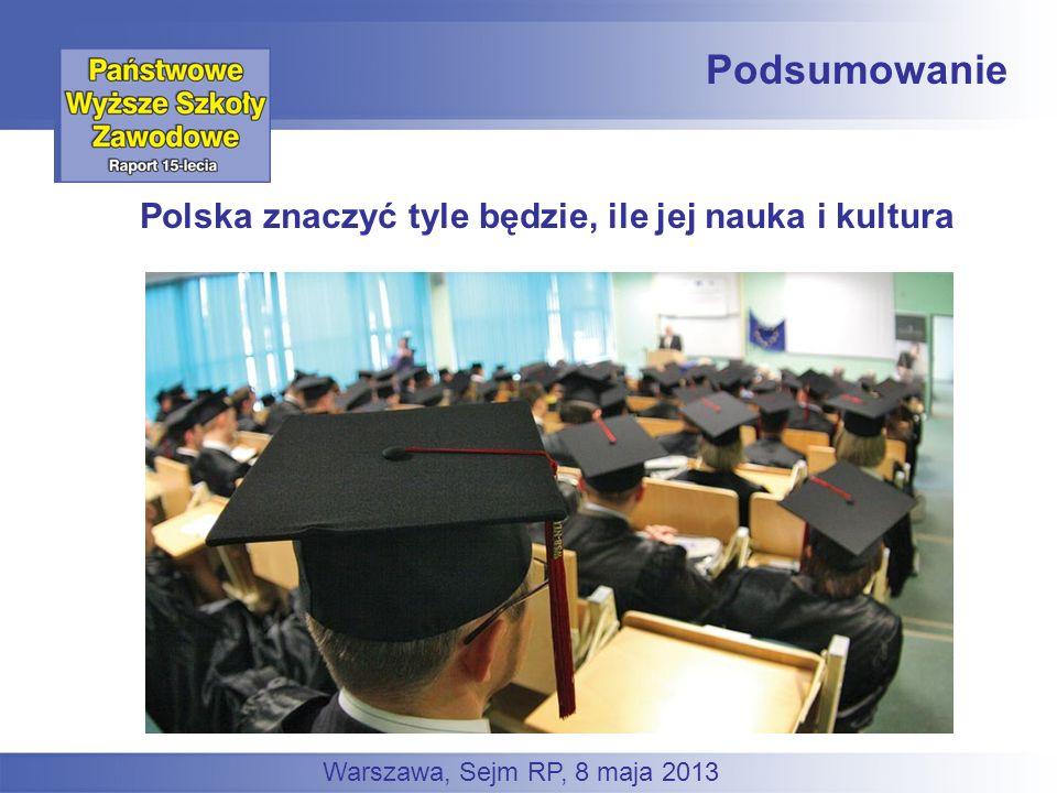 Podsumowanie Polska znaczyć tyle będzie, ile jej nauka i kultura Warszawa, Sejm RP, 8 maja 2013